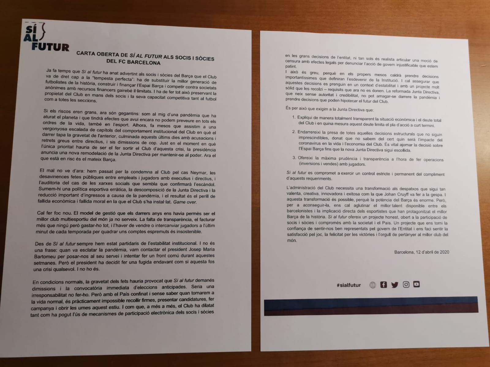 Sí al futur's open letter to all FC Barcelona members