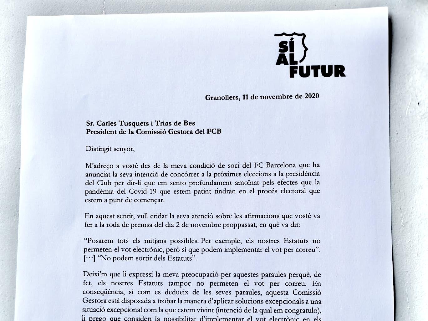 Víctor Font demana a la Comissió Gestora del FC Barcelona que implementi el vot electrònic a les properes eleccions a la presidència