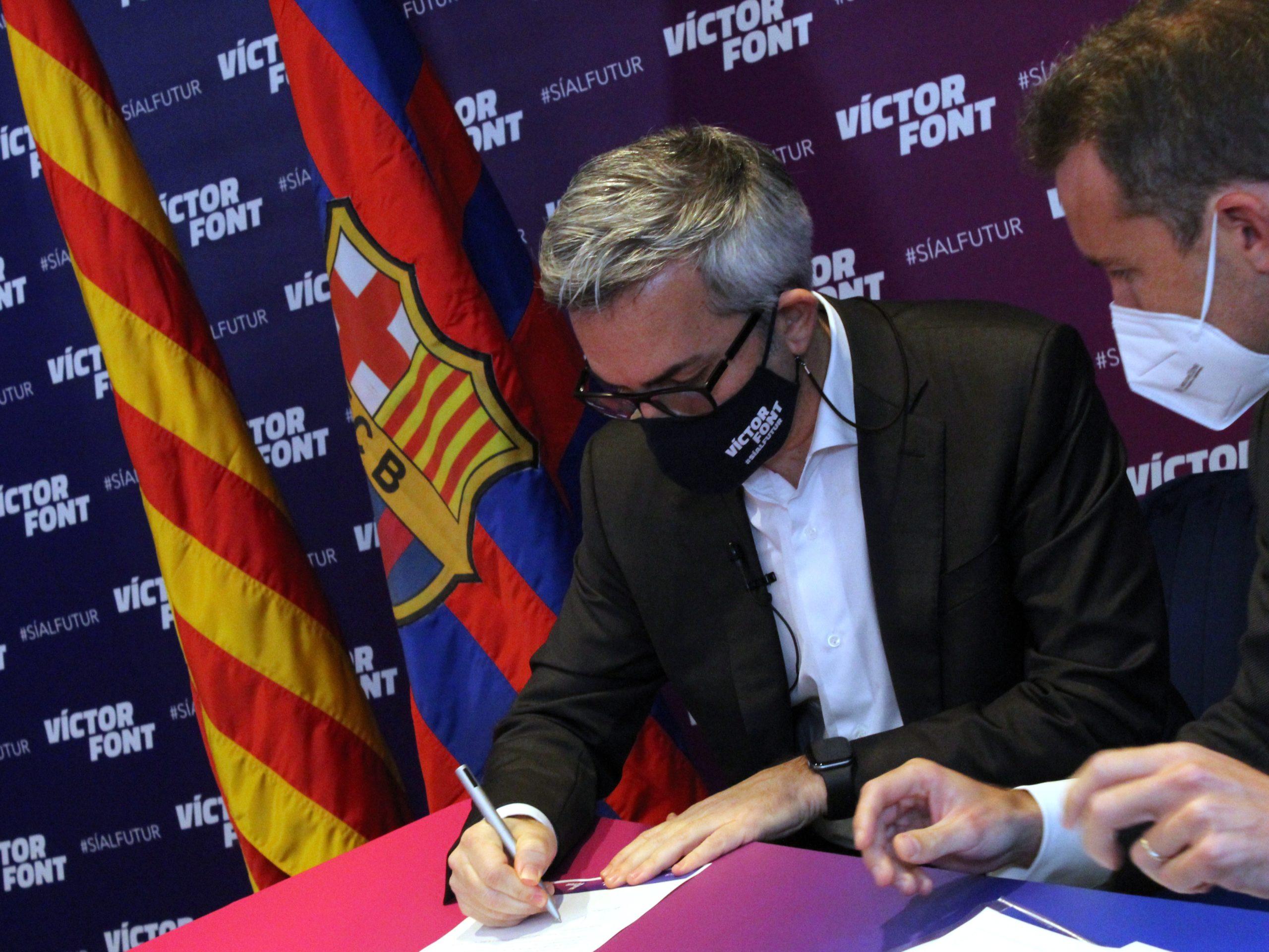 Víctor Font es compromet davant notari que el Barça no es convertirà en una SAD mentre ell sigui president
